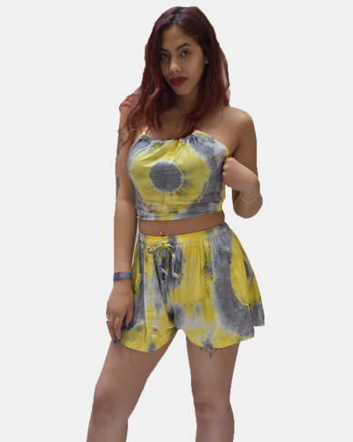SKA Pastel Tie Dye Shorts Yellow and Grey