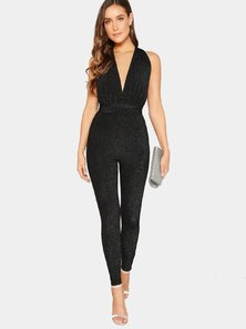 Elite Occasions Deep V-neck Criss Cross Backless Glitter Jumpsuit