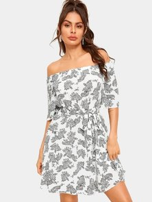 Elite Occasions Off Shoulder Paisley Print Belted Dress