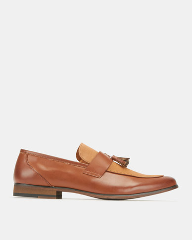 Utopia Formal Tassel Suede Loafers Tan by Utopia