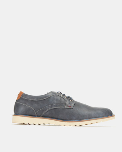 Utopia Casual White Outsole Lace Ups Navy