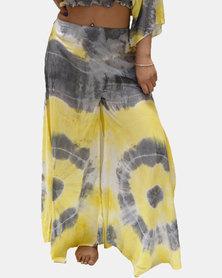 SKA Flared Pastel Tie Dye Pants Yellow and Grey