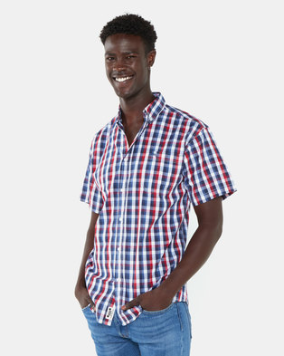 Jeep Short Sleeve Check Shirt Red/Navy