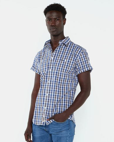 Jeep Short Sleeve Check Shirt Blue/Tan