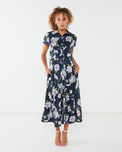 Utopia Floral Print Flare Dress With Pockets Navy
