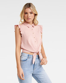 Zoe Frill Sleeve Tie Front Shirt Pensive Pink