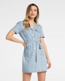 Sofia Utility Denim Mini Dress Mid Wash