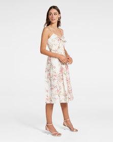 Mia Tie Front Button Through Dress Ivory Cream Base Print