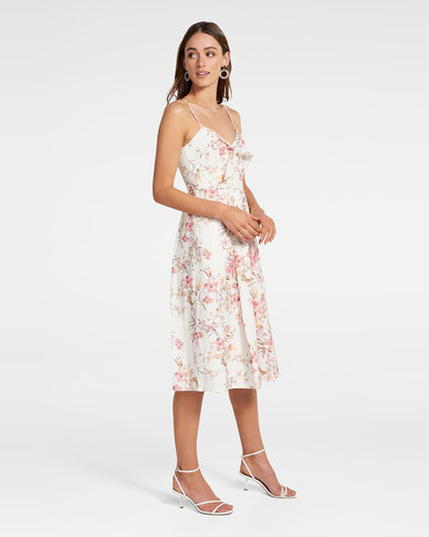 Mia Tie Front Button Through Dress Ivory Cream Base Print