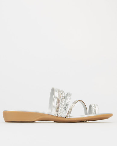 Froggie Leather Ella Diamante Slip On Silver