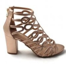 LaMara Paris Ivy embossed caged rose gold block heel sandals
