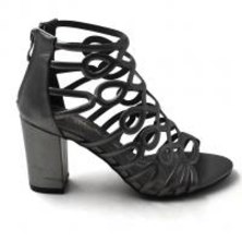 LaMara Paris Ivy embossed caged pewter block heel sandals