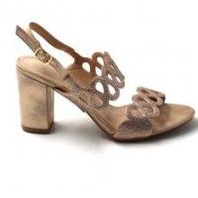 LaMara Paris Ivy's shimmered champagne block heel