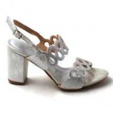 LaMara Paris Ivy's shimmered silver block heel