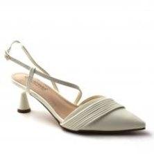 LaMara Paris Ferma smooth faux leather kitten heel white