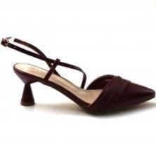 LaMara Paris Ferma smooth faux leather kitten heel burgundy