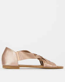 Utopia Weave Open Toe Pumps Champagne