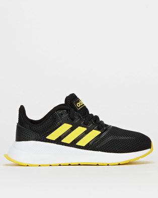 adidas Performance Boys Run Falcon Sneakers Black/Shock Yellow