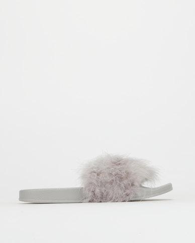 Legit Long Hair Fur Slide Grey