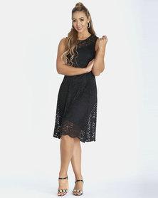 Contempo Black Scallop Lace Flare Dress