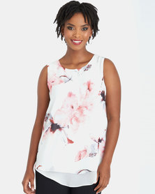 Contempo Ivory Printed Double Layer Top