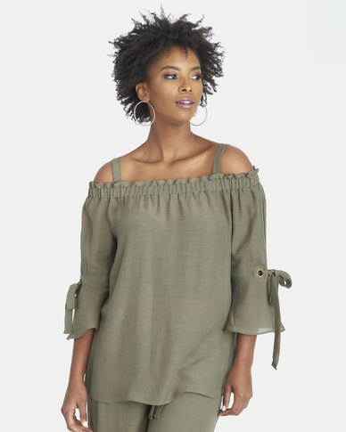 Contempo Off Shoulder Top With Sleeve Ties Khaki