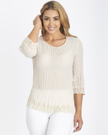 Contempo Stone Ghost Voile Top With Lace Trim