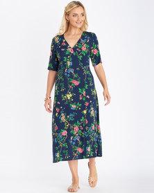 Contempo Floral Button Front Dress Multi