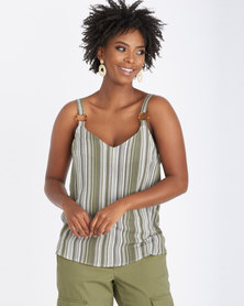Contempo Stripe Strappy Top With Tort Khaki