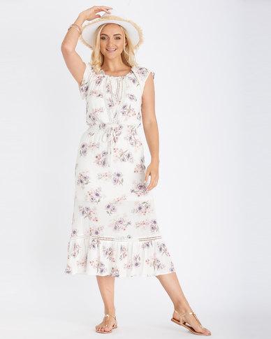 Contempo Floral Dress Ivory