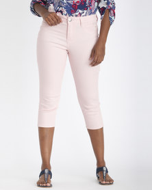 Contempo Diamante Crop Trousers Pink