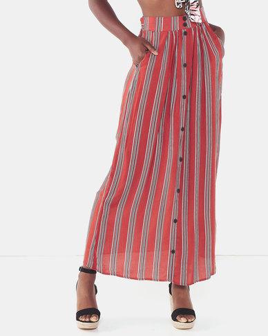 Legit Button Front Self Belt Maxi Skirt Rust