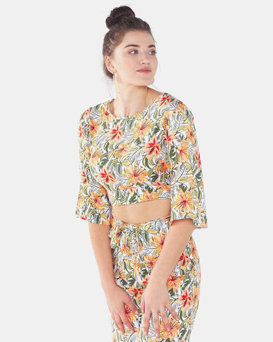 Legit Open V Back Hibiscus Floral Blouse Multi
