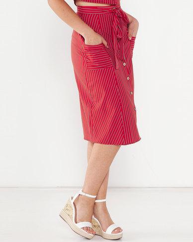 Legit Stripe Pocket Button Flare Midi Skirt White/Red