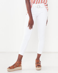 Legit Belted Wide Wband Skinny White