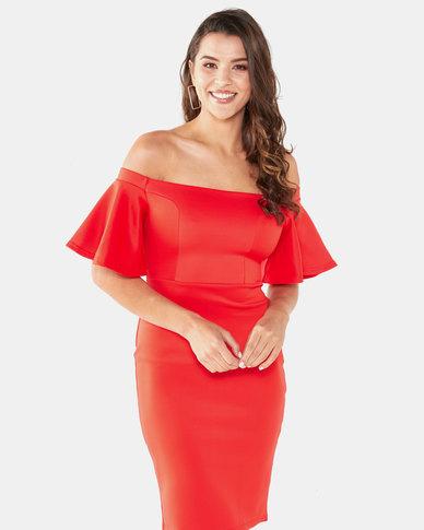Legit Off The Shoulder Flounce Sleeve Bodycon Dress Orange