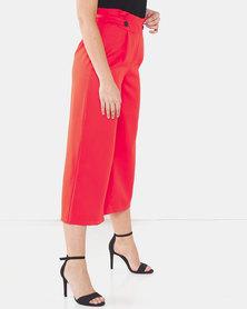 Legit Button Tab Wide Leg Culottes Orange