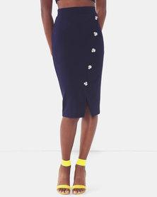 Legit Mock Wrap Button Detail Pencil Skirt Navy