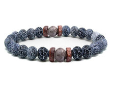 Urban Charm Urban Man Distressed Agate & Map Stone Bead Bracelet