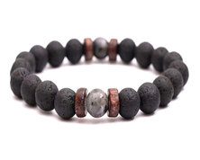 Urban Charm URBAN Man Lava Rock Bead Bracelet - Wood