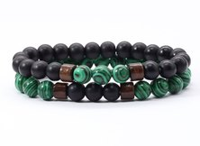 Urban Charm Beaded Treasure Couples' Stone Bracelet Set - Malachite