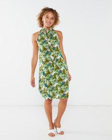 Utopia Tropical Print Halterneck Dress Green