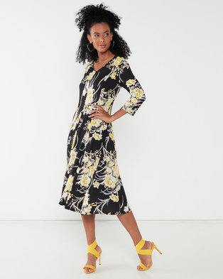 Queenspark Printed Fit & Flare Knit Dress Yellow