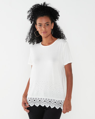 Queenspark Double Layer Gorgeous Knit Top White