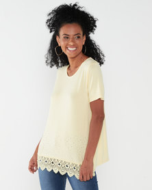 Queenspark Double Layer Gorgeous Knit Top Yellow