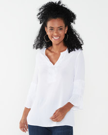 Queenspark Ornate Sleeve Woven Blouse White