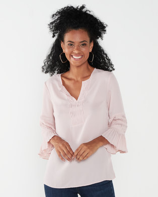 Queenspark Ornate Sleeve Woven Blouse Pink