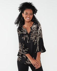 Queenspark Leaf Print Ornate Woven Blouse Black