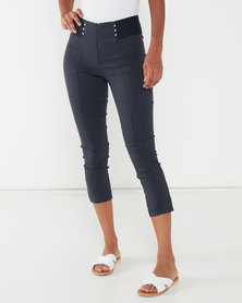 Queenspark Mini Spot Woven Capri Trousers Navy