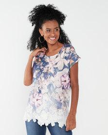 Queenspark Melissa Faux Lace Glitter Knit Top Multi